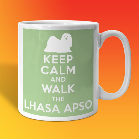 Keep Calm and Walk The Lhasa Apso Mug Pale Green