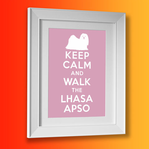 Keep Calm and Walk The Lhasa Apso Framed Print Pale Purple