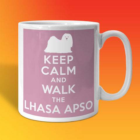 Keep Calm and Walk The Lhasa Apso Mug Pale Purple