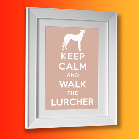 Keep Calm and Walk The Lurcher Framed Print Beige