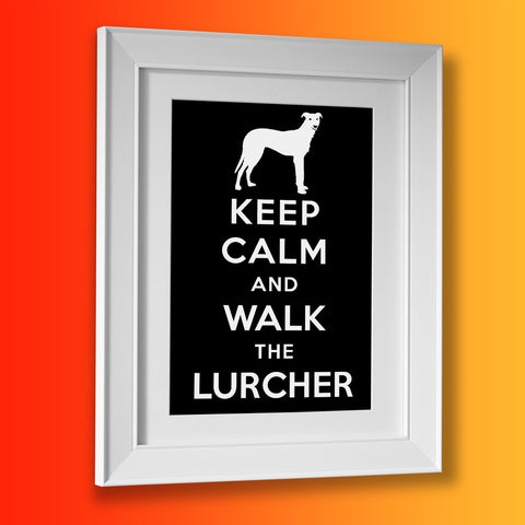 Keep Calm and Walk The Lurcher Framed Print Black