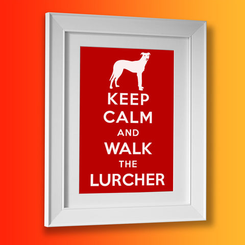 Keep Calm and Walk The Lurcher Framed Print Brick Red
