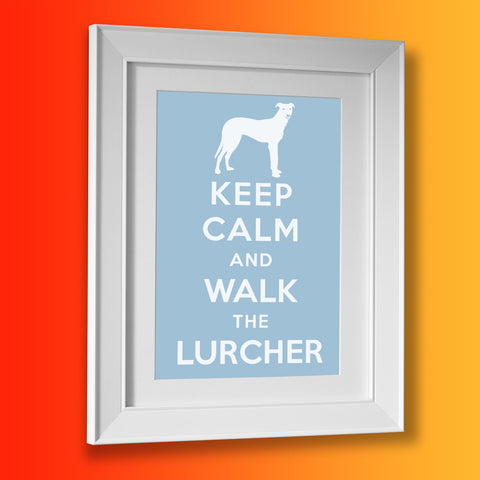 Keep Calm and Walk The Lurcher Framed Print Pale Blue