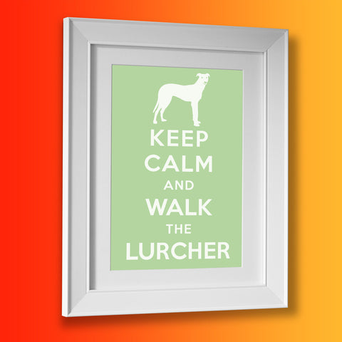 Keep Calm and Walk The Lurcher Framed Print Pale Green