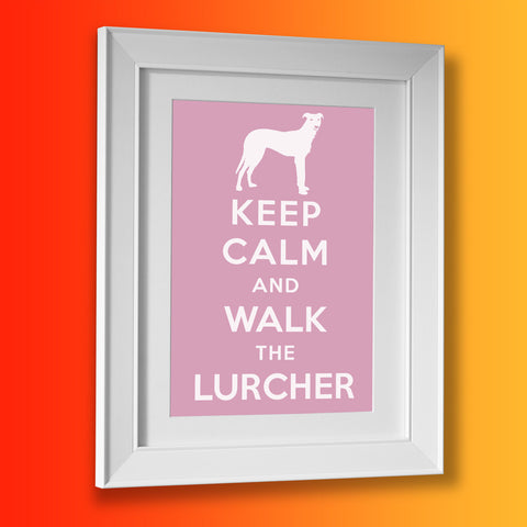 Keep Calm and Walk The Lurcher Framed Print Pale Purple