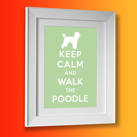Keep Calm and Walk The Poodle Framed Print Pale Green