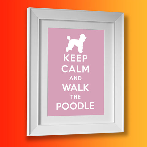 Keep Calm and Walk The Poodle Framed Print Pale Purple