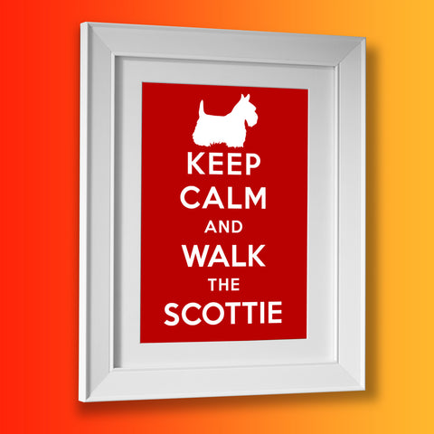 Keep Calm and Walk The Scottie Framed Print Brick Red