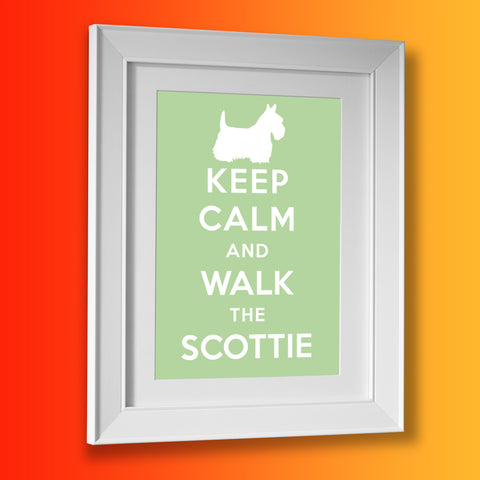Keep Calm and Walk The Scottie Framed Print Pale Green