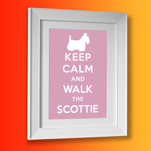 Keep Calm and Walk The Scottie Framed Print Pale Purple