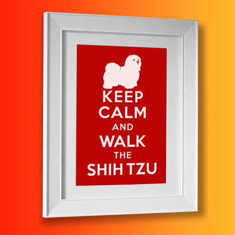 Keep Calm and Walk The Shih Tzu Framed Print