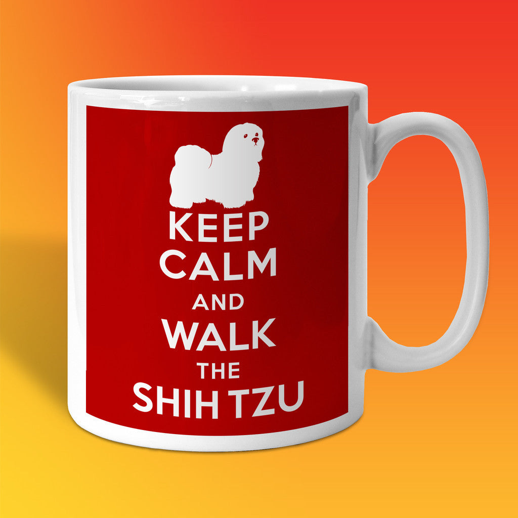 Keep Calm and Walk The Shih Tzu Mug Brick Red