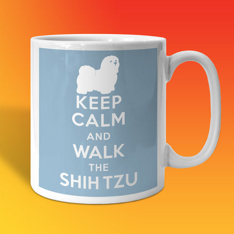 Keep Calm and Walk The Shih Tzu Mug Pale Blue