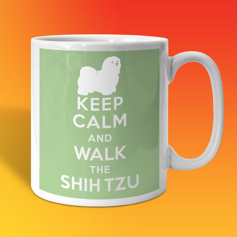 Keep Calm and Walk The Shih Tzu Mug Pale Green