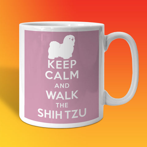 Keep Calm and Walk The Shih Tzu Mug Pale Purple