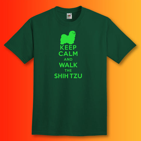 Keep Calm and Walk The Shih Tzu T-Shirt Bottle Green