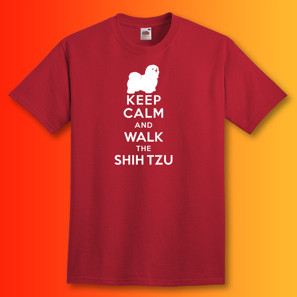 Keep Calm and Walk The Shih Tzu T-Shirt Brick Red