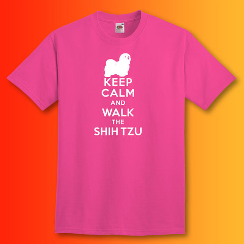 Keep Calm and Walk The Shih Tzu T-Shirt Fuchsia
