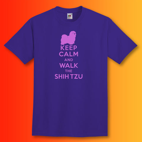 Keep Calm and Walk The Shih Tzu T-Shirt Purple