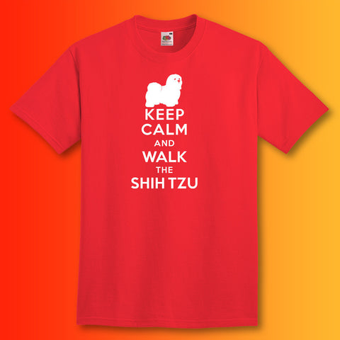 Keep Calm and Walk The Shih Tzu T-Shirt Red
