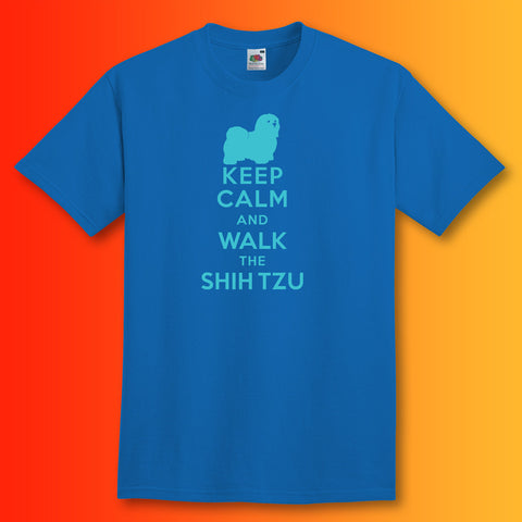 Keep Calm and Walk The Shih Tzu T-Shirt Royal Blue