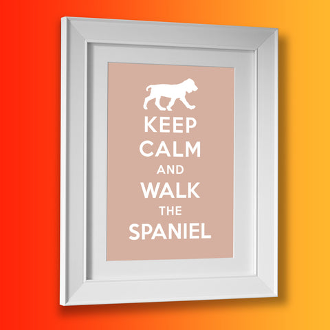 Keep Calm and Walk The Spaniel Framed Print Beige