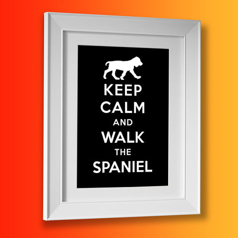 Keep Calm and Walk The Spaniel Framed Print Black