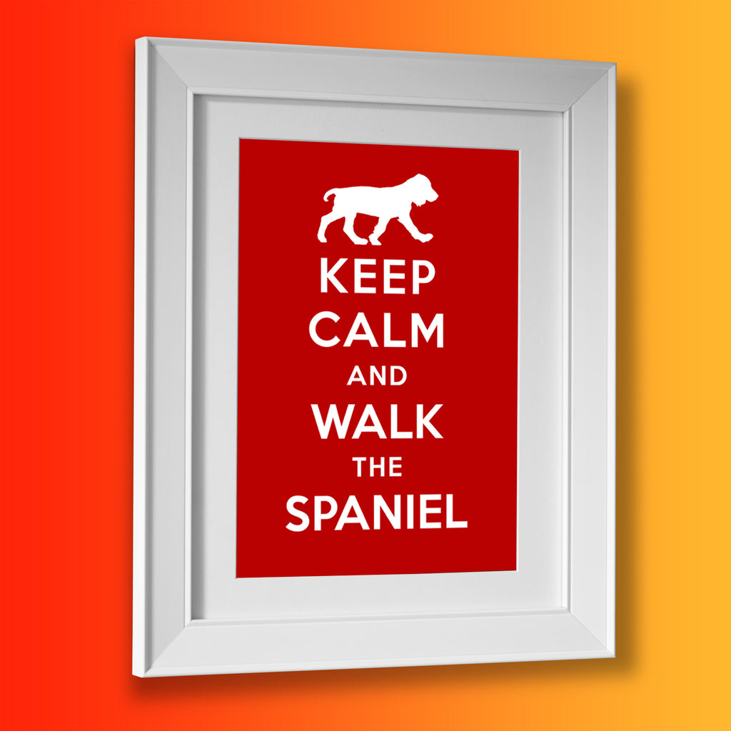Keep Calm and Walk The Spaniel Framed Print Brick Red