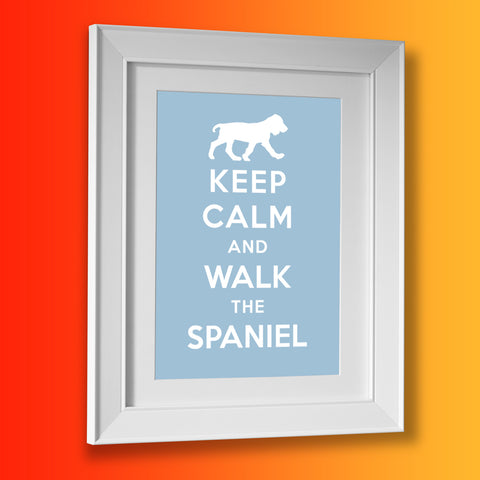 Keep Calm and Walk The Spaniel Framed Print Pale Blue