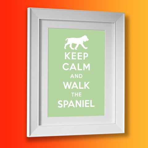 Keep Calm and Walk The Spaniel Framed Print Pale Green