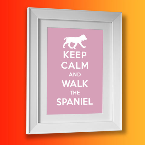 Keep Calm and Walk The Spaniel Framed Print Pale Purple