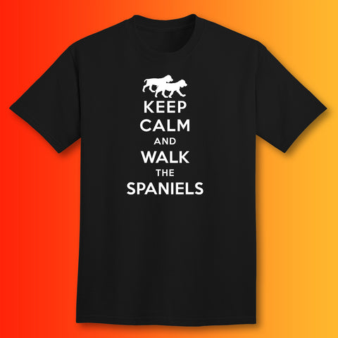 Keep Calm and Walk The Spaniels T-Shirt Black