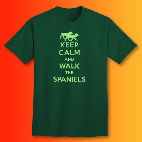 Keep Calm and Walk The Spaniels T-Shirt Bottle Green