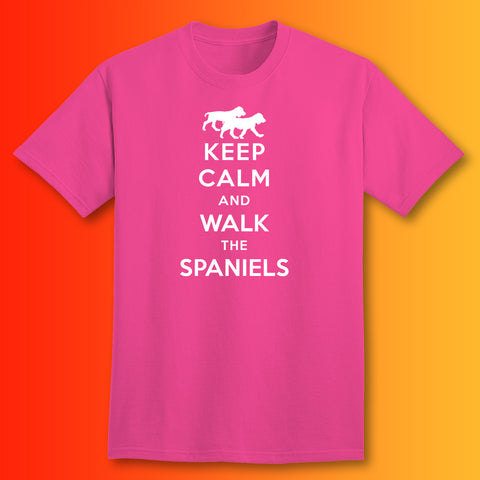 Keep Calm and Walk The Spaniels T-Shirt Fuchsia