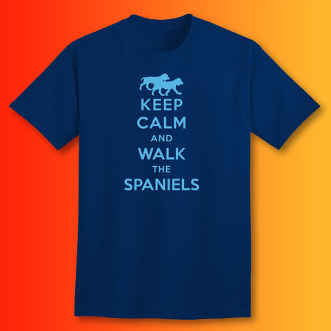 Keep Calm and Walk The Spaniels T-Shirt Navy