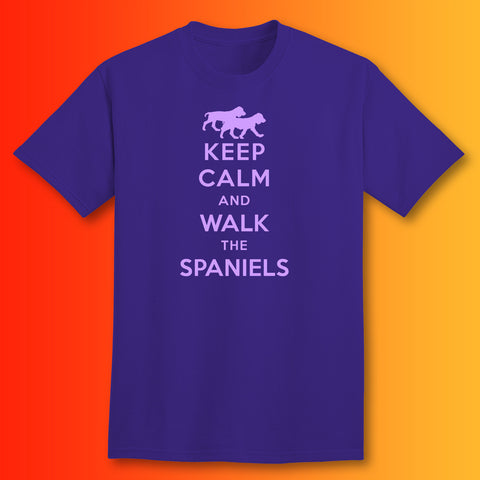 Keep Calm and Walk The Spaniels T-Shirt Purple