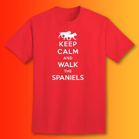 Keep Calm and Walk The Spaniels T-Shirt Red