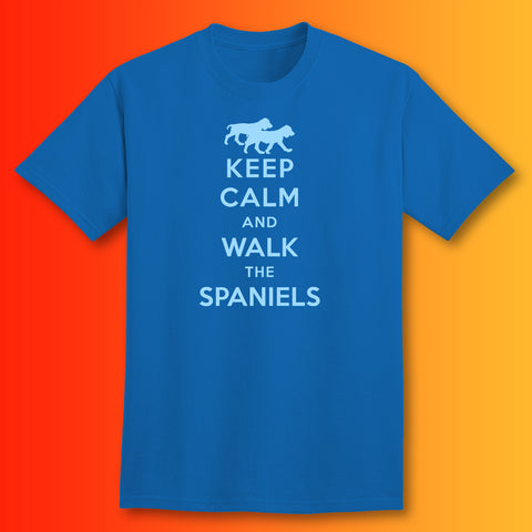 Keep Calm and Walk The Spaniels T-Shirt Royal Blue