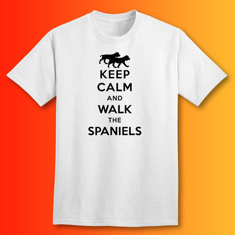 Keep Calm and Walk The Spaniels T-Shirt White