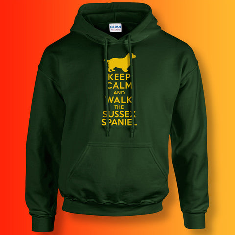 Keep Calm and Walk The Sussex Spaniel Hoodie Forest Green