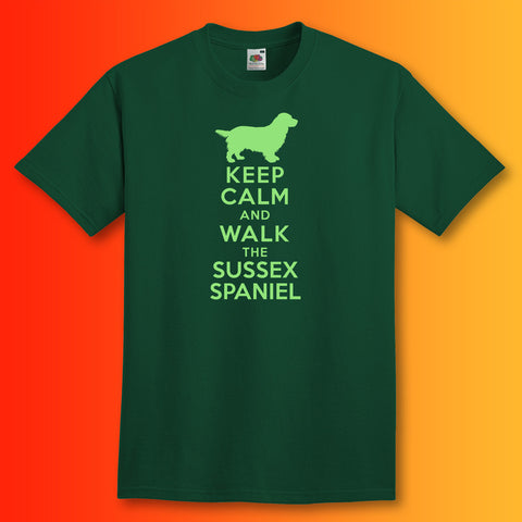 Keep Calm and Walk The Sussex Spaniel T-Shirt Bottle Green