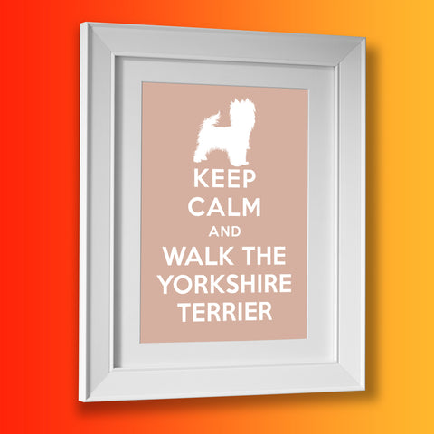 Keep Calm and Walk The Yorkshire Terrier Framed Print Beige