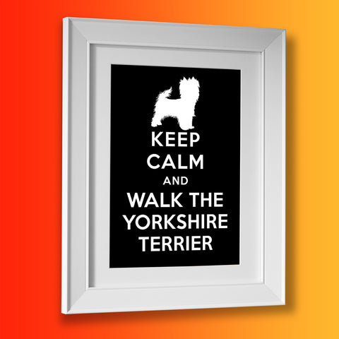 Keep Calm and Walk The Yorkshire Terrier Framed Print Black