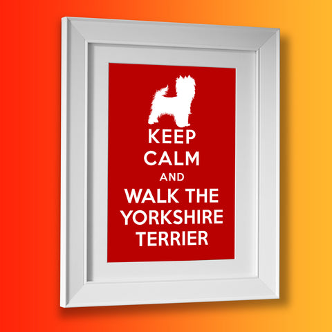Keep Calm and Walk The Yorkshire Terrier Framed Print