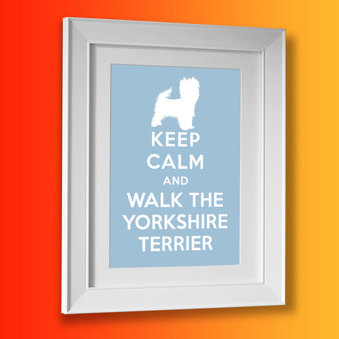 Keep Calm and Walk The Yorkshire Terrier Framed Print Pale Blue