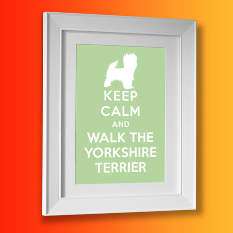 Keep Calm and Walk The Yorkshire Terrier Framed Print Pale Green