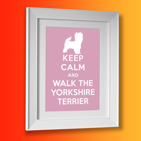 Keep Calm and Walk The Yorkshire Terrier Framed Print Pale Purple