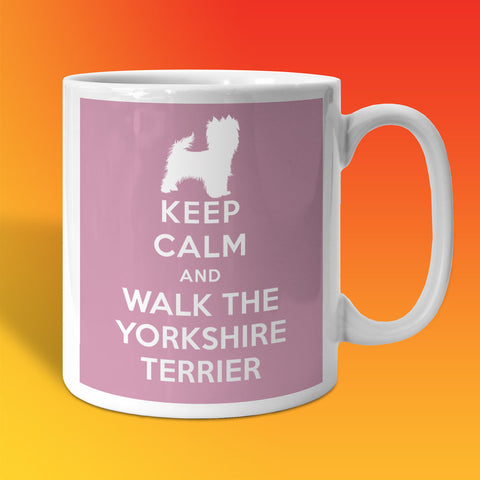 Keep Calm and Walk The Yorkshire Terrier Mug Pale Purple
