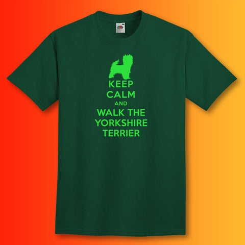 Keep Calm and Walk The Yorkshire Terrier T-Shirt Bottle Green