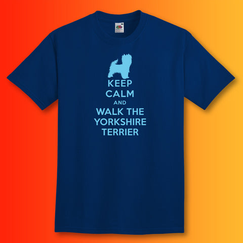 Keep Calm and Walk The Yorkshire Terrier T-Shirt Navy